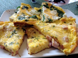 Ham & White Cheddar Frittata and Spinach & Goat Cheese Frittata